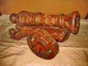 B785-Tun sculptat statuieta decor lemn masiv cu obuze.