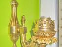 A58A-Aplica electrica veche 1 brat cap model lampa gaz bronz