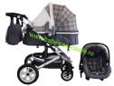 Cărucior nou născut 3 in 1+geantă+Baby Care 530 Grey Design
