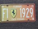 Placuta de metal Ferrari, gen numar auto, vintage