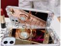 Husa oglinda cu pietricele + inel pt. iPhone 12, 12 Pro
