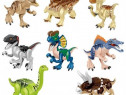 Set 8 Dinozauri tip Lego Jurassic Park 3 cu Silver Raptor