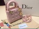 Geanta Dior mini,roz prăfuit, import Franta,logo metalic