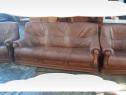 Set canapea 3 locuri + 2 fotolii din piele naturală, stejar
