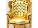 Fotoliu din lemn masiv auriu cu tapiterie aurie