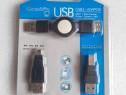 Set cablu cu adaptoare USB B si USB Mini