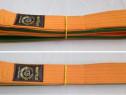 Centura bicolora portocaliu-verde arte marțiale, MATSUI, 250