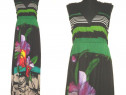 Desigual, Rochie maxi, noua, cu print floral mare, colorat