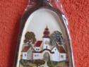 Decoratiune vintage 3D-Peisaj cu biserica-handmade Germania