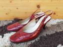 Pantofi cu toc visinii piele lacuita