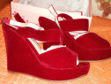 Sandale platforma, imitatie piele intoarsa, toc 10 cm, rosii