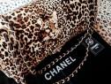Geanta Chanel piele -animal print ,new model/logo auriu