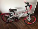 Bicicleta copii 20 inch 6-9 ani 18 viteze negru mat cu rosu