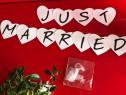 Cartoane alb sidef,inimi,Just Married
