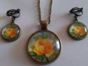 Set din bronz trandafiri cu cercei clipsuri