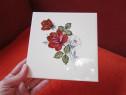 Placa ceramica vintage,cu trandafiri ,made in Austria