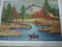 """Tablou peisaj """"Pe rau la pescuit"""" pictat pe panza,80x62cm"""