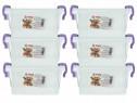 6x Cutie depozitare cu capac, plastic alimentar, 6 x 3L
