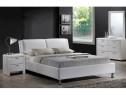 Pat alb modern, din lemn, tapitat cu piele ecologica,140x200