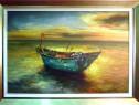 Tablou pictat manual pe panza in ulei , Barca pe apa A-465