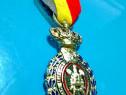5897-I-Medalie veche Belgia cu insemne regale, alama argint.