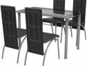 Set masă și scaune din lemn de pin cinci piese 242912