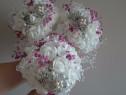 Buchete de mireasa din brose si flori artificiale