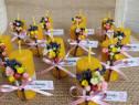 Marturii botez mini lumanarele din ceara cu flori
