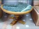 Masa din lemn cu blat piatra naturala verde smarald