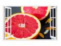 Sticker Decorativ, Fereastra 3D, Grepfrut, 85 Cm, 301STK