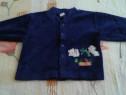 Bluza groasa albastra cu ursuleti -68