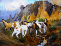 "Tabloul ""Libertatea cailor salbatici"",pictura in ulei"