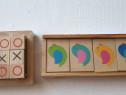 Jocuri din lemn educative X si O si de memorie