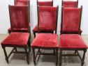 Set 6 Scaune Vintage Stil Ludovic; Scaun lemn masiv tapitat