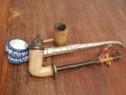 Pipe vechi de colectie argint portelan