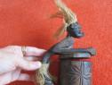 Arta africana,cutie secreta, vintage,sculptura lemn-un cadou