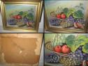 Tablou vechi pe placaj- Natura statica cu fructiera si fruct