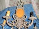 6166-Set Candelabru cu 2 aplice mari cu Fauni bronz argintat
