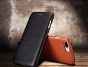 Husa piele xoomz, iphone 7 plus, cu clapeta curbata, negru