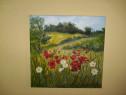 """""""Taina florilor de camp"""", tablou-pictura in ulei,panza"""