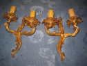 2Aplice electrice mici stil Rococo bronz masiv aurit pereche