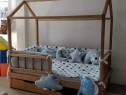 Pat Casuta marca BabyTime / Cu sertare / Din lemn natural