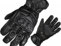 Manusi moto din piele cu protectii - Black Track -