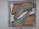 Sandale dama din piele,culoare verde, italienesti,marimea 40