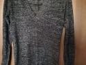 Pulover lung negru cu insertii argintii