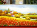 Tablou pictat manual pe panza in ulei, Camp cu Flori A-025