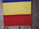Fanion Romania si UE, dublu, matase, 16 x 24 cm