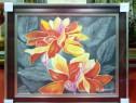 Tablou pictat manual pe panza in ulei , Peisaj cu flori A-4
