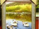 Tablou pictat manual pe panza in ulei , Pasari pe apa A-347