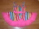 Costum carnaval serbare rochie dans curcubeu 4-5-6 ani